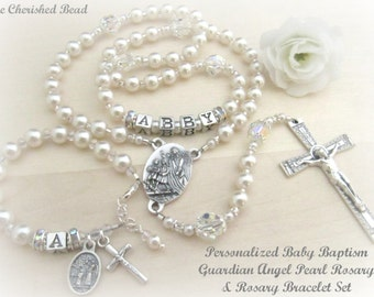 Beautiful Personalized  Baby Girl Guardian Angel Baptism Pearl, Rhinestone and Swarovski Crystal Rosary & Rosary Bracelet - Complete Set