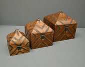 Vintage Indian Wooden Box - Large - Tent Box - Jewelry Box