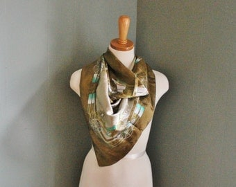 10 DOLLAR Sale Vintage 80s Old Fashioned Carriage Buggy Scarf - Large Olive Green