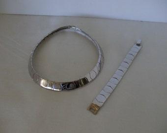 Napier Necklace and Bracelet  - Silver Tone - Choker - Modern Design ,  Slave Style Necklace - Shiny Finish - Gifts  -  FREE SHIPPING USA
