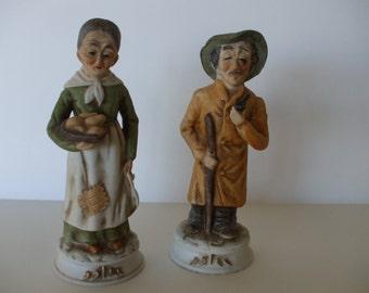Bisque Porcelain 1970s Old Couple Figurines,  Japan,  Home Decor,  Collectibles,  #4209
