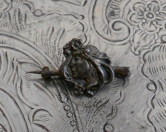 Art Nouveau Lady Pin