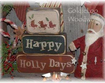 Primitive, Folk Art, Happy Holidays, Block Chunkies