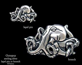 Octopus Lapel Pin or Octopus Brooch Sterling Silver