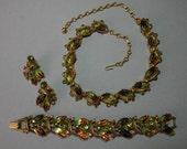 Vintage Florenza Necklace Earring Bracelet Set