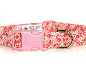 Petunia,,,Pink Floral Dog Collar with pink buckle
