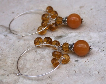 Amber Yellow Jade Sterling Silver Hoop Rustic Earthy Elegant Earrings