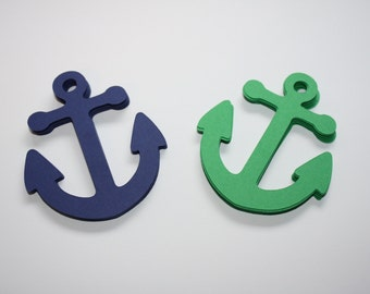 18 x Anchor Die Cuts - Green and Navy