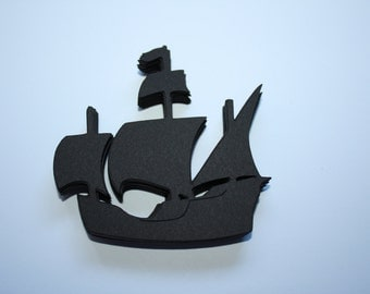 18 x Pirate Ship Die Cuts - Black