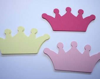 24 x Crown Die Cuts - Pink and yellow