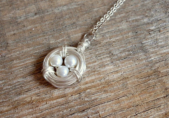 Silver Bird Nest Necklace White Pearl Eggs and Nest,Pregnancy Jewelry