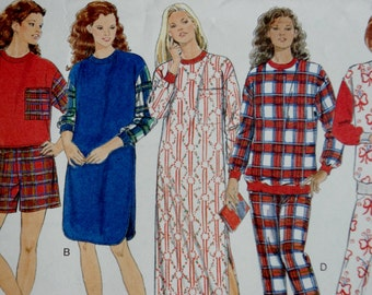 Vintage 90s Fast and Easy Classic Butterick Sewing Pattern -- 1990s Pajamas Nightshirt & Booties -- XS S M UNCUT