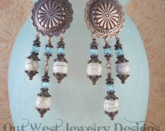 Rodeo Cowgirl Earrings - White Buffalo Turquoise Concho Dangles with Copper Earwires