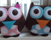 Blue or Pink Polka Dot Owl Pillow - Plush Owl Pillow