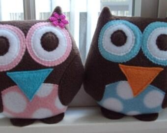 Blue or Pink Polka Dot Owl Pillow - Plush Owl Pillow
