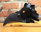 Black Leather Crow / Plague Doctor Mask Steampunk Cosplay
