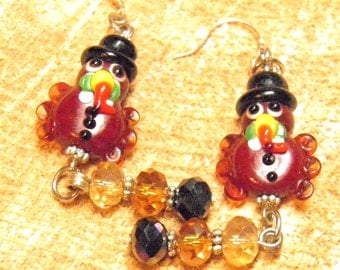 Thanksgiving Earrings, Sterling Silver Artisan Lampwork Turkey Beads, Thanksgiving Turkey Earrings, Thanksgiving Jewelry OOAK Autumn Jewelry