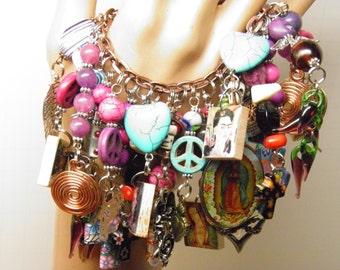 Day of the Dead Bracelet, Loaded Charm Bracelet Turquoise Sugar Skull Jewelry Frida Kahlo Bracelet Halloween Jewelry Virgin Guadalupe OOAK 5