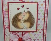 Handmade Card, Greetings, Gift, Valentine, Penny Black - Valentine Hedgie Love