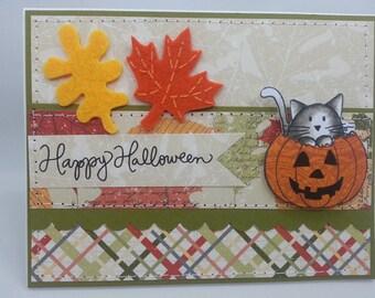 Halloween Pumpkin Kitten - Blank NoteCard, Greetings Card, Handmade Card
