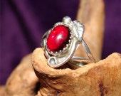 Vintage NAVAJO Ring Genuine GARNET Stone Size 5 HANDMADE