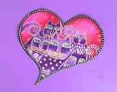 SALE*Handmade Laurel Burch Heart Applique/85