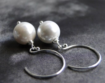 CRAZY SALE Creamy White Pearl Earrings, Sterling Silver Hoops, Gift for Her, Accessories, Gift Box