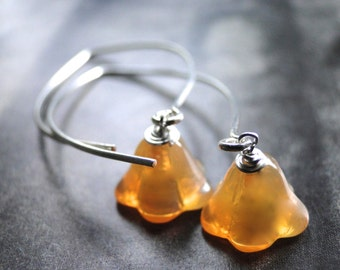 CRAZY SALE Dangle Earrings, Czech Glass Flower Earrings, Sterling Silver Hoops, Gift for Her, Accessories, Gift Box