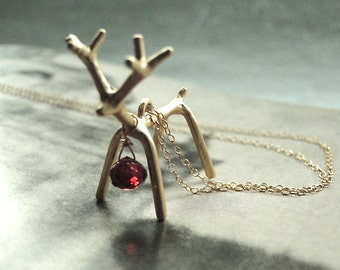 Christmas in July Sale, Holiday Jewelry, Necklace, 14k Gold Filled Chain, Reindeer Necklace, Gift for Her, Holiday Gift