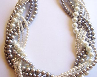 Grey pearl necklace Custom order necklaces braided twisted chunky statement pearl necklace bridesmaid bridal