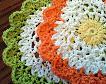 Crocheted Dish Cloths, Moon Flower Cloths, Kitchen Decor, Home Decor, Eco Friendly, Cotton Cloths