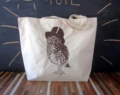 Canvas Tote - Screen Printed Recycled Cotton Grocery Bag - Large Tote Bag - Market Tote - Reusable and Washable - Eco Friendly - Owl