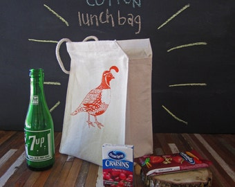 Reusable Lunch Bag - Screen Printed Recycled Cotton Lunch Bag - Eco Friendly Lunch Box - Woodland Quail - Lunch Sack - Canvas Tote Bag