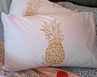 Screen Printed Pillowcases (set of 2 standard) - Pillow Covers - Eco Friendly Bedding - Pineapple - Natural Cotton Pillowcase - Handmade