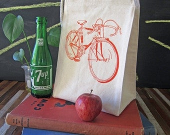 Screen Printed Recycled Cotton Lunch Bag - Reusable and Washable - Eco Friendly - Handmade - Road Bike - Canvas Lunch Tote - Lunch box