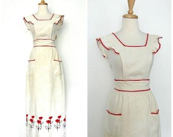 Vintage Pinafore Dress - jumper - folk dress - 70s dress - hippie maxi - long cotton dress - country wedding - xs s