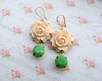 Cream Rose earrings, Spring earrings, Apple Green Rhinestone earrings