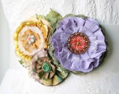 Bridal Belts and Sashes, Colorful Floral Sash, Bride Belt with Fabric Flowers, Wedding Sash, Violet, Yellow, Lilac, Green Sash, Flower Belt