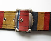 Vintage 60s coloured suede red mustard yellow and blue stripes patchwork hippy belt - PennyDreadfulVintage