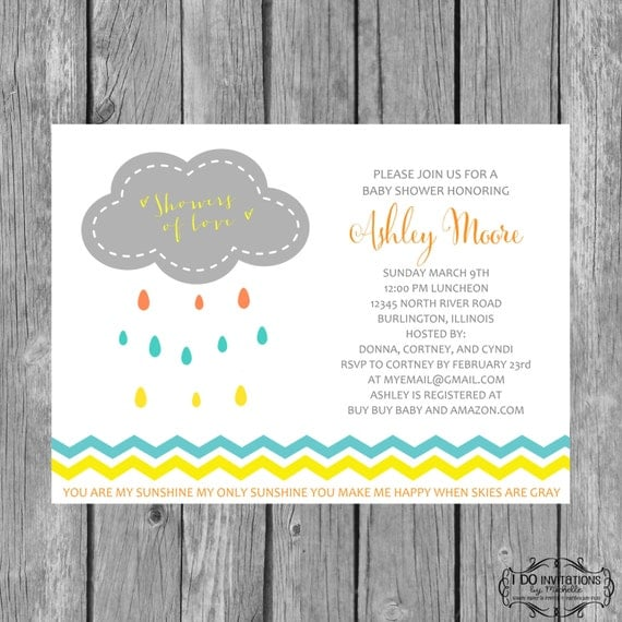 Items similar to Rain Cloud Baby Shower Invitation You Are My