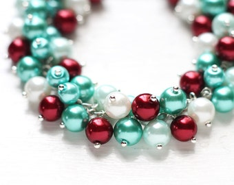 Teal Red Wedding Bridesmaids Jewelry, Pearl Cluster Bracelet - Carnival, Teal Green and Dark Red