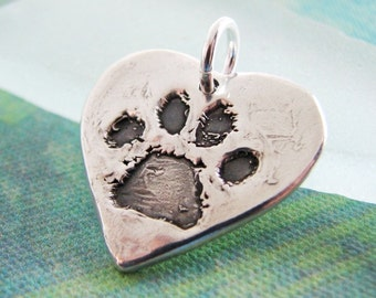 Personalized Heart Pawprint Pendant, Custom Artisan PMC Pet Jewelry, Handcrafted From Recycled  Silver