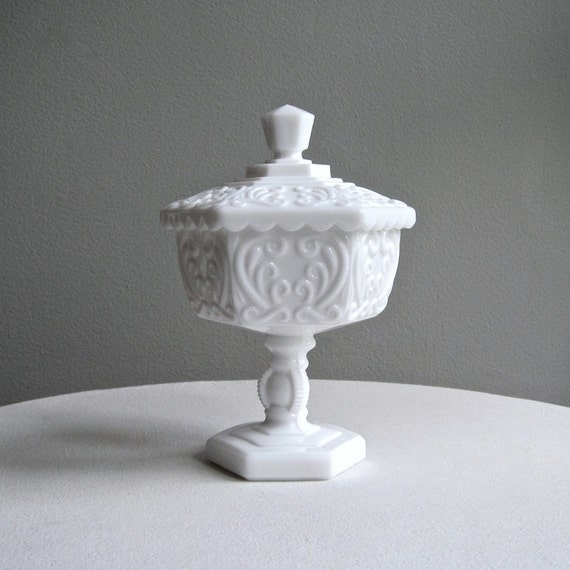 Milk Glass Footed Candy Dish with Scrolls by Imperial