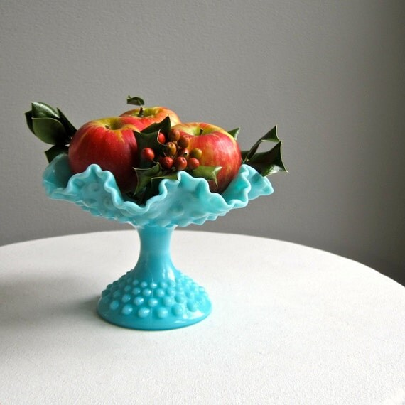 Turquoise Blue Milk Glass Footed Compote by Fenton, 1950s Footed Bowl