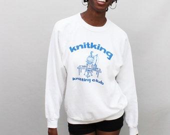 80s Vintage Knitting Club Sweatshirt - LARGE