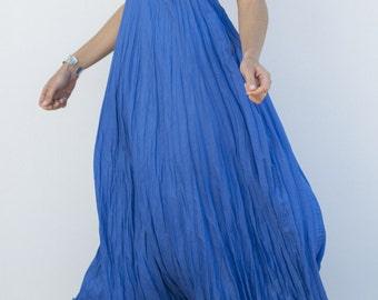 Long Blue Linen Dress / Bright Azure Blue / Maxi / Summer Dress / Pure Linen / Crinkled Linen / Boho Beach Dress / Hand Made