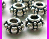 10pcs 6.5mm Sterling Silver Handmade Bali Bead Spacer S21