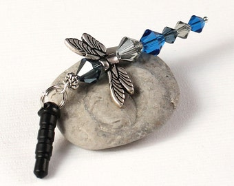 Crystal Dragonfly Charm - Woodland Creature Mobile, Deep Blues Dust Plug Charm, Black Diamond Crystal Beads