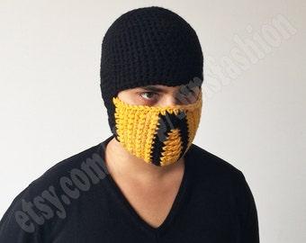 Scorpion Mortal Kombat Costume Accessories Mask Crochet Beanie Hat Slouch Mens Handmade Winter Men Snowboard Ski Hat unisex game fashion