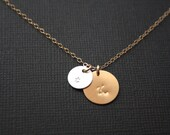 Personalized two Initial  Necklace, Disc 12mm & 9mm (silver/gold)  monogram engraved necklace, Style of Disc to choose, simple everyday wear